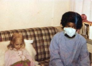 An old photograph shows Michael Jackson visiting Leslie Robinette in the hospital in Seattle, Washington, in 1973. Robinette, now 42, of Greeneville, Tenn., was hospitalized as a child with aplastic anemia.