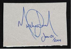 Το τελευταίο αυτόγραφο του Μάικλ Τζάκσον. 24 Ιουνίου 2009