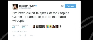 Elizabeth Taylor tweet on Michael Jackson memorial 7th July 2009