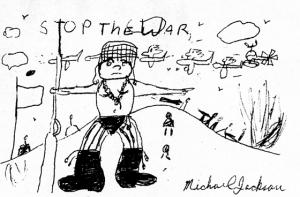 Ζωγραφιά του Μάικλ Τζάκσον με μήνυμα κατά του πολέμου