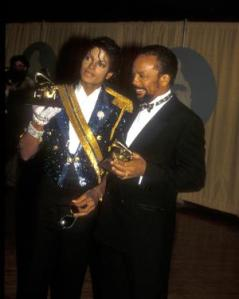 Michael Jackson & Quincy Jones at the Grammys in Los Angeles, California on February 28, 1984 in Los Angeles, California (Photo by Barry King/WireImage)
