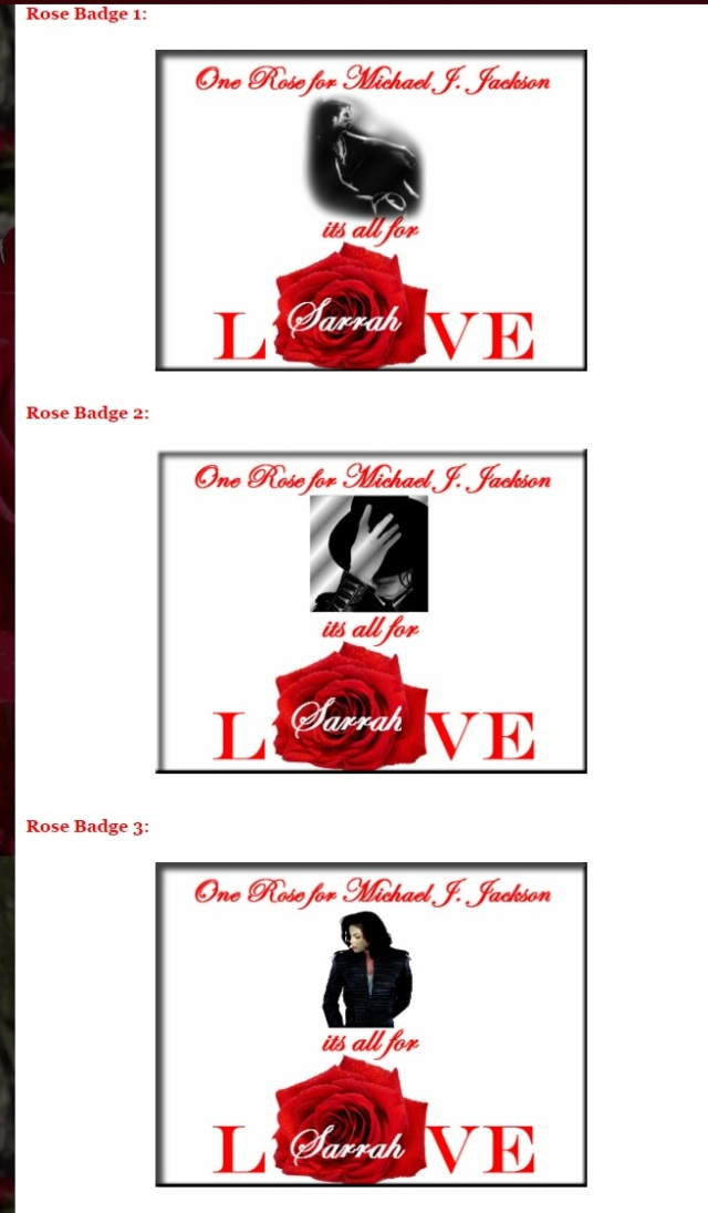 One Rose for Michael Jackson badges