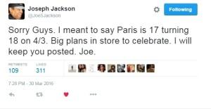 Το tweet του παππού Joe Jackson για τα 18α γενέθλια της Πάρις Τζάκσον 3 μέρες νωρίτερα