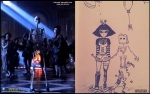 Αριστερά εικόνα από το βίντεο κλιπ του Μάικλ Τζάκσον Ghosts και δεξιά μια ζωγραφιά της Πάρις, που θα μπορούσε κάλλιστα να είναι εμπνευσμένη από το βίντεο κλιπ