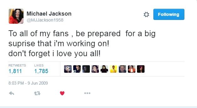Michael Jackson tweet on twitter June 9th 2009