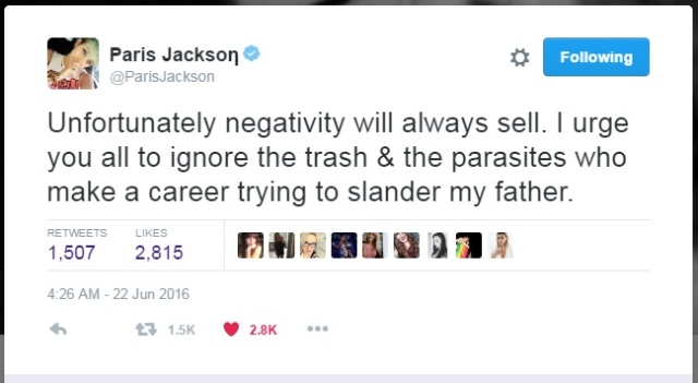 Paris Jackson June 22nd 2016 on media trash