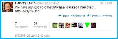 TMZ twitter 25 June 2009 Michael Jackson death announcement