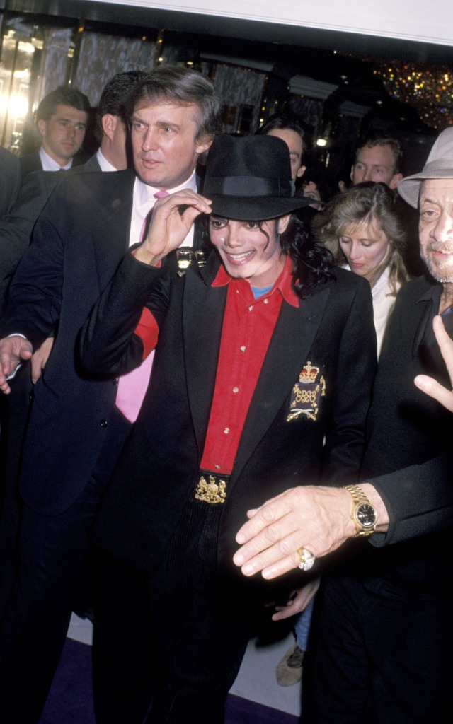 Michael Jackson and Donald Trump during Opening of Donald Trump's Taj Mahal Casino - April 5, 1990 at Taj Mahal Hotel and Casino in Atlantic City, New Jersey, United States. (Photo by Ron Galella/WireImage)